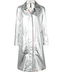 santoni trench coat metálico - prateado