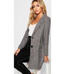 petite dogtooth oversizede wollook jas met ruit, zwart
