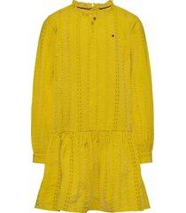 embroidery anglais d jurk geel tommy hilfiger