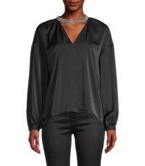 ramy brook women's cutout long-sleeve top - black - size s