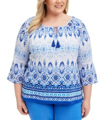alfred dunner plus size printed split-neck top