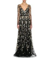 metallic leaf sheer sleeve gown