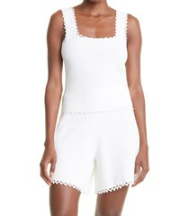 rebecca taylor crochet trim cotton knit tank top, size large in full moon at nordstrom