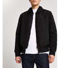 river island mens black collared bomber jacket