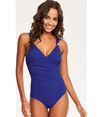 illusion draped firm control one-piece swimsuit