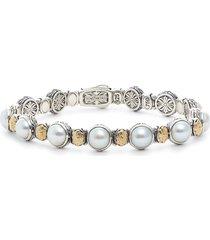 women's konstantino sterling silver, gold & pearl bracelet