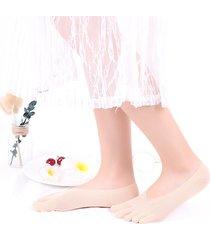 fodera in mesh ultrasottile a cinque dita. calza antiscivolo in tinta unita. calza estiva traspirante invisibile