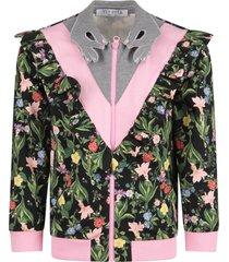 vivetta black girl sweatshirt with colorful flowers