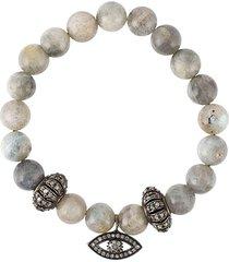 gemco bead diamond charm bracelet - grey