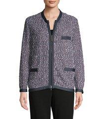 full-zip tweed jacket