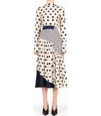 women's stella mccartney tangerine print long sleeve silk dress, size 2 us - ivory