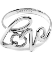 charriol love cable statement ring in sterling silver & stainless steel