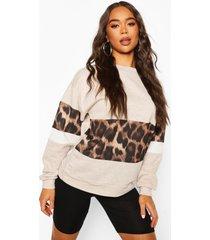 leopard print sweat top & short co-ord set, oatmeal