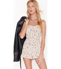 womens who got the flower floral playsuit - white