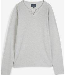 lucky brand men's button notch neck slub thermal knit t-shirt