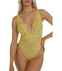 wolf and whistle wolf & whistle ariana lace bodysuit, size x-small in yellow at nordstrom