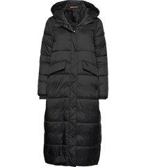 coats woven gevoerde lange jas zwart edc by esprit