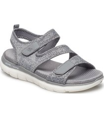 womens flex appeal 2.0 shoes summer shoes flat sandals silver skechers