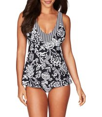 women's sea level print tankini top, size 8 - black