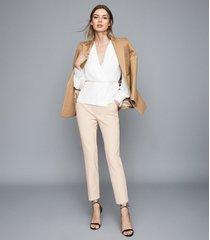 reiss joanne - cropped tailored trousers in cream, womens, size 10