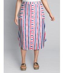 lane bryant women's striped crepe midi skirt 22/24 patriotic stripe
