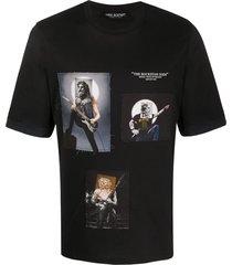 neil barrett rockstar gods print t-shirt - black