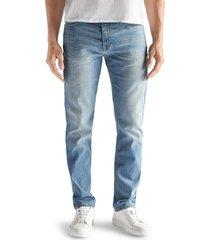 men's devil-dog dungarees athletic fit performance stretch jeans, size 38 x 32 - blue