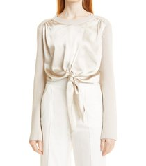 jonathan simkhai marcela mixed media tie front long sleeve top, size small in stone at nordstrom