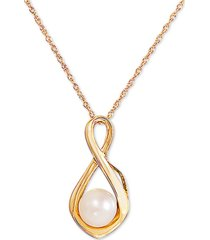 """cultured freshwater pearl (6mm) infinity 18"""" pendant necklace in 10k gold"""
