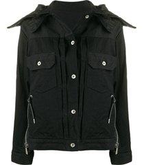 sacai convertible collar denim jacket - black