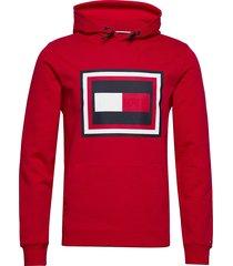 embossed aw hoody hoodie trui rood tommy hilfiger