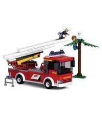 blocos de montar caminhão de bombeiro com escada - sluban slub0625