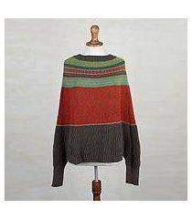 alpaca blend poncho sweater, 'vermilion leaves' (peru)