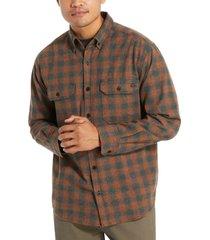 wolverine men's glacier midweight long sleeve flannel shirt mahogany plaid, size xxl