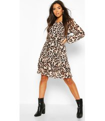 leopard print belted ruffle skater dress, brown