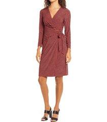 women's anne klein pearly dot long sleeve wrap dress, size x-large - orange