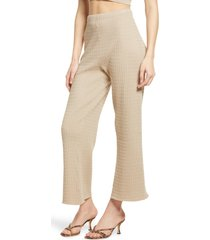 wayf '98 michelle wide leg pants, size medium in almond at nordstrom