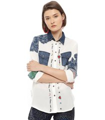 blusa desigual ml blanco - calce regular