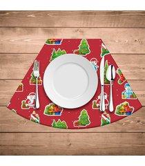 jogo americano para mesa redonda wevans elementos natalinos vermelho kit com 4 pçs