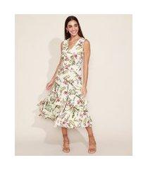 vestido feminino midi estampado floral em camadas com babado e fenda sem manga off white