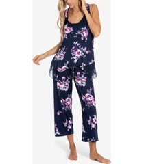 linea donatella cailyn lace-trim tank & capri pajama set