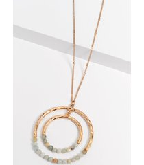 maurices womens beaded double circle pendant necklace green