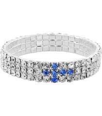 symbols of faith silver-tone blue rhinestone cross stretch bracelet