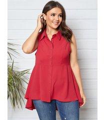 yoins plus talla botón con cuello de solapa diseño camiseta sin mangas sin mangas