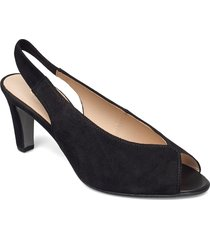 ankle-stap sandal shoes heels pumps peeptoes svart gabor