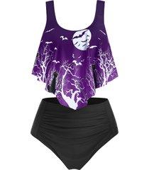 moon night bat print ruched tankini swimsuit