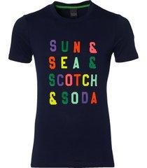 scotch & soda t-shirt - slim fit - blauw