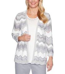 alfred dunner lake geneva chevron-print layered-look sweater