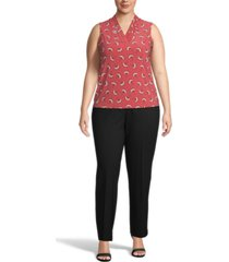anne klein plus size printed pleated-neck top