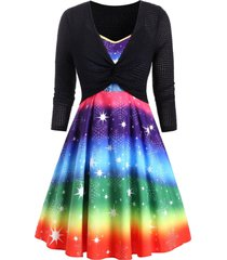 plus size christmas rainbow snowflake dress and twisted top set